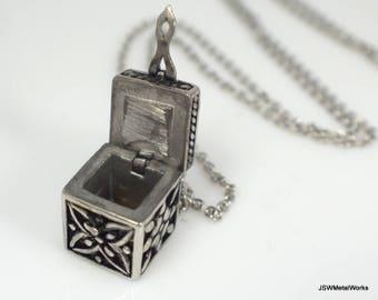 Stainless Steel Prayer Box Necklace, Secret Compartment Necklace, Box Pendant, Unisex Necklace, Stainless Pendant, Secret Stash Jewelry