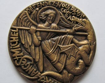 Saint Michael The Archangel Slaying The Dragon Vintage French Bronze Modernist Religious Art Medal