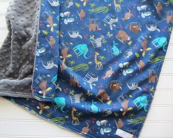 Navy Zoo Animals Baby Boy Minky Blanket, Gray Minky Back, Elephants, Giraffe, Alligator, Bear Baby Boy Blanket, Zoo Boys Nursery