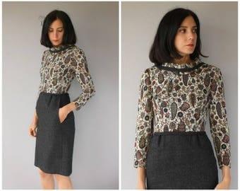 Vintage 1960s Wool Dress | 60s Wiggle Dress | 1960s Day Dress | 1960s Dress | 1960s Wool Wiggle Dress - (x-small)