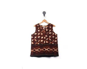 30% OFF Vintage 90s Tiger Print Tank Top women l xl vestiesteam animal print plus size earth tone orange brown sleeveless ethnic oversized s