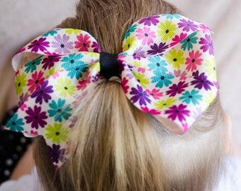 Hair Bow - Purple Flower Print Pinwheel Bow