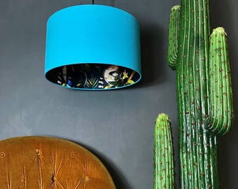 Midnight Blue Wallpaper Lemur Lampshade with Sky Blue Cotton