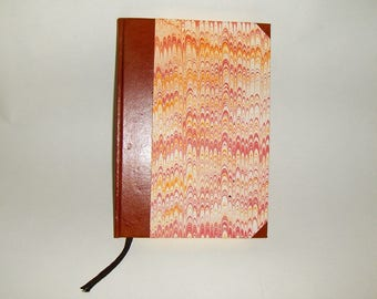 Marbled paper and leather  notebook, 88  pages Ivory paper Favini,  Hand bounded  cm 17 x 24 cm  -  1016