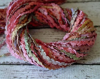 Pretty Hand Dyed Braided Rococo Trim in MEMORIES, 3 yards