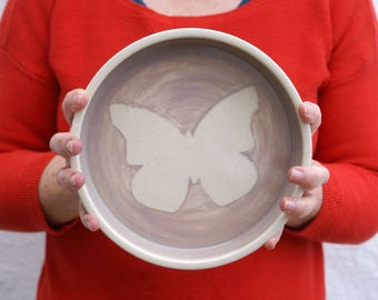 Shallow butterfly serving dish - wheel thrown stoneware bowl in simply clay