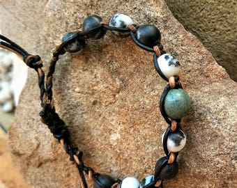 Mens Bracelet-BOHO MAN-'Wanderer' shamballa style green sediment jade,zebra jasper, leather slider bracelet mens bracelet Made To Order