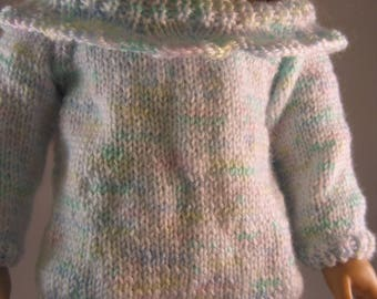 "Hand Knit  Off Shoulder Sweater Pastel Shades Girl Doll Clothes fits 18"" American Doll"