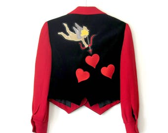 Cupid Jacket / Moschino X Rusty Cuts Velvet Heart Jacket / Sz S