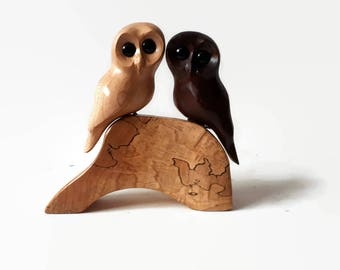 Gift for her 5th anniversary gift rustic wedding gift gift for couple gift handmade owl wood anniversary
