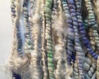 Handspun yarn - art yarn - stacked coils wool yarn Type A Fibers