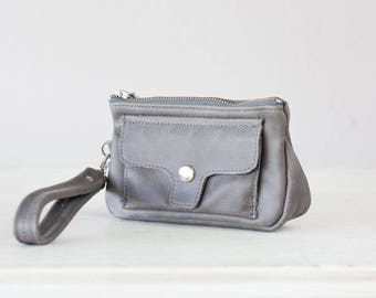 SALE Wristlet wallet phone case in grey leather, womens wallet with strap clutch wallet phone - Thalia Wallet