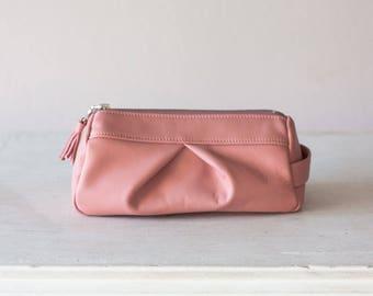 Pale pink leather makeup bag, accessory bag pencil case vanity storage zipper pouch  case  storage - Estia Bag
