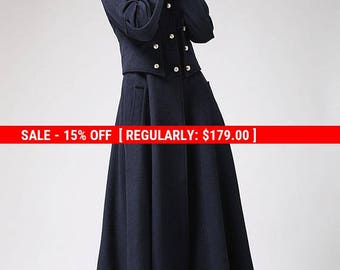 Military coat, long coat, wool coat, navy coat, warm coat, full length coat, outwear dress, lined coat, fitted coat, mod clothing  (701)