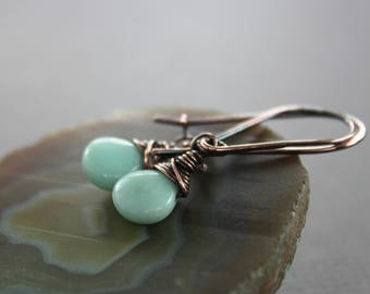 Kidney shape amazonite sea foam copper earrings - Copper earrings - Gemstone earrings - Drop earrings - Dangle earrings - ER106
