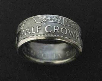 Hand Forged Double Sided Silver (50%) Coin Ring - Great Britain Half Crown