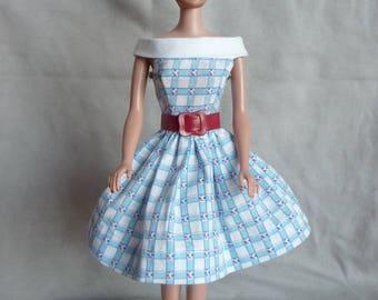 Uneeda Miss Suzette Dress with Red Belt, Vintage Barbie Clone
