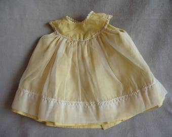 "Vintage Large Doll Yellow Dress, 8"" Long, 6""+ Chest"