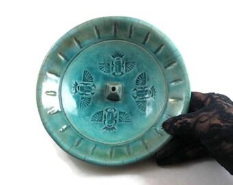 Raku Egyptian Scarab Incense Burner  Handmade Pottery