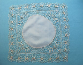 Hanky Handkerchief Hand Made Silk Bobbin Lace Cream Circular Silk Antique Vintage c.1900s Bridal Wedding