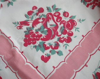 Vintage Red Table Cloth Fruit Strawberry Cotton  65 X 60