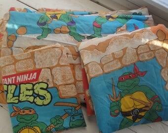 Vintage Teenage Mutant Ninja Turtles Twin Sheet Set Complete