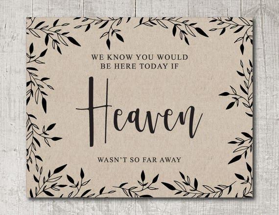 Rustic Wedding Heaven Sign Instant Download, DIY Wedding Memorial Sign, Rustic Heaven Sign PDF, Printable Heaven Wedding Sign
