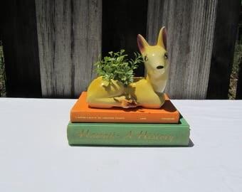 Vintage Yellow Ceramic Deer Planter