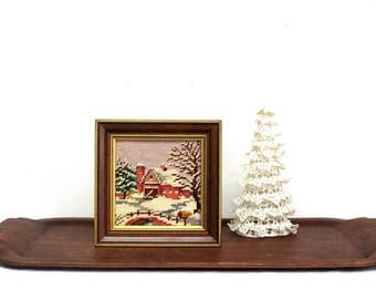 Vintage Needlepoint of Snowy Winter Barn, Completed and Framed, 1960s