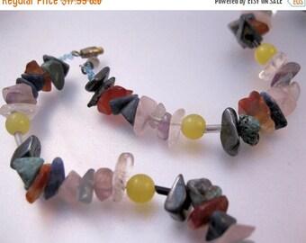 "SHIPS 6/26 w/FREE Jewelry Semi Precious Uncut Stone Nugget Necklace 17.5"" Multi Color Vintage Jewelry Jewellery"