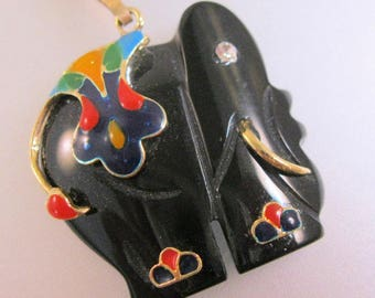 Black Onyx Hand Carved Elephant Enamel Jeweled Pendnat Necklace Vintage Jewelry Jewellery