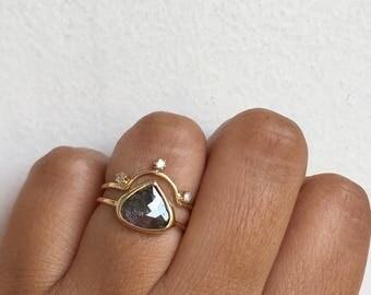 Rose Cut Diamond Ring, Raw Diamond Ring, Raw Diamond Engagement Ring, Unique Engagement Ring, One of a Kind Engagement Ring, Diamond Slice