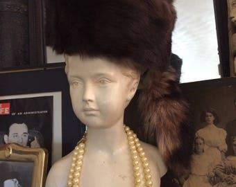 Vintage 50s Mahogany Brown Ladies Mink Fur Hat with Racoon Tail
