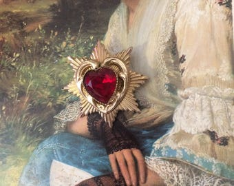 Vintage 1950s CORO Red Heart Valentine Floral Heart Brooch Pin Gold Tone Gift for Her