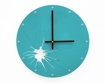 Shattered Metal, Medium, Unique Wall Clock, Modern Wall Clock, Steampunk, Industrial Wall Art, Laser Cut, Cool Home Decor, Turquoise Face