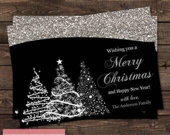 Silver Glitter Tree Christmas Card