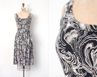 vintage 1970s dress | 70s Diane Von Furstenberg cotton knit dress | black and white (extra small - small xs s)