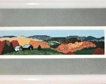 Fall Colors - Cross Stitch Pattern and Overdyed Threads by FIRESIDE ORIGINALS - Autumn - Mountains - Hills - Scenic - Nature - Landscape