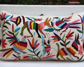 4 Multi Colored Lumbar Hand Embroidered Otomi Cushion Sham