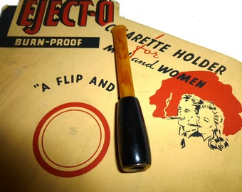 1940s Ejecto Bakelite Cigarette Holder.  One Left - Yellow & Black. Retro Cool Smoking Tobacianna.