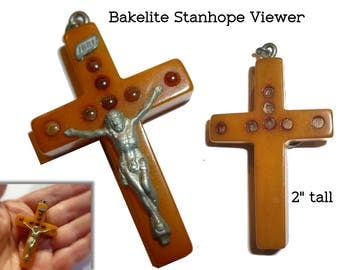 Stanhope Viewer in Bakelite. Tiny Two Inch Treasure. Crucifix Jesus on Cross. Circa 1930s.