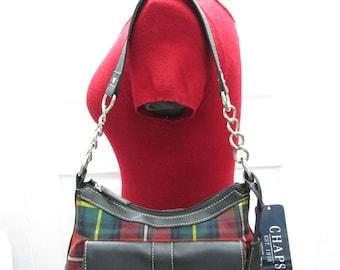Vintage NOS Chaps Plaids Black Faux Leather Satchel With Key, Chaps Plaids Canvas Faux Leather Shoulder Purse, Chaps Hobo, Tote