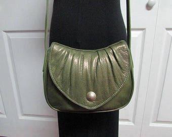 Osgoode Marley Bag, Vintage Osgoode Marley Green Butter Soft Pebbled Leather Crossbody Bag, Hand Free Bag, Shoulder Purse, Messenger Bag