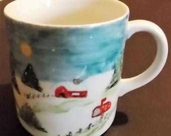 Vintage Coffee Mug, Snow Scene Surrounding Mug, By Rareuther Waldsassen, Bavaria, Germany Mug, Country Side Snow Scene, Artist Initialed