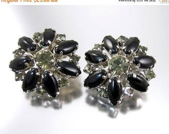 45% off Sale Black Glass and Rhinestone Earrings Clips