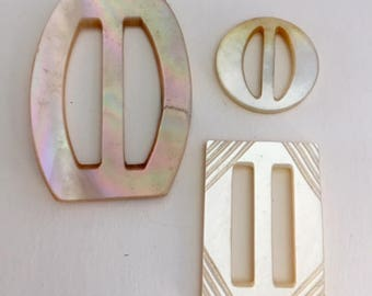 Vintage Mother of Pearl  Buckles  - 3 Assorted Sizes