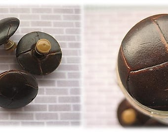 Leather Effect 1950's 'Football' Buttons