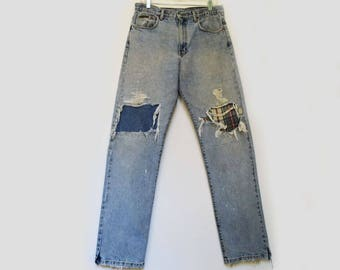 Vintage Calvin Klein Jeans High Waist Jeans 80s Mom Jeans Faded Distressed Denim Patched Vintage Denim Jeans Womens Straing Leg Jeans 32 W