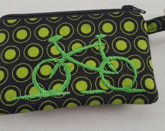 Zipper Mini Wallet Pouch Key Chain  Card holder - Machine Embroidery Bicycle - Polka Dots