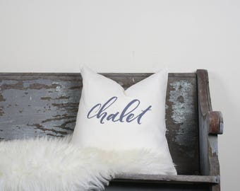 """18""""x18"""" Ivory Linen with Gray Ink """"Chalet"""" Pillow Cover"""